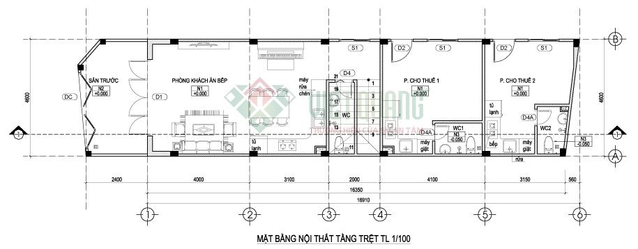 Mặt bằng bố trí công năng sử dụng tầng trệt nhà phố 3 tầng 4.6 x 17m
