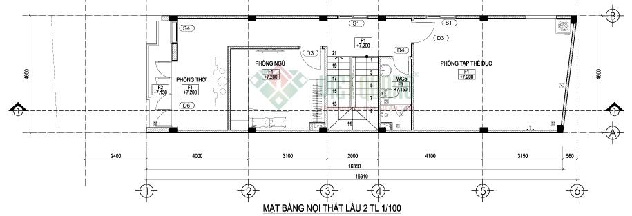 Mặt bằng bố trí công năng sử dụng lầu 2 nhà phố 3 tầng diện tích 4,6 x 17m