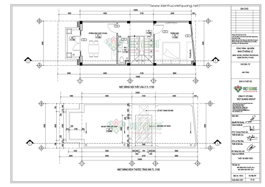 Mặt bằng bố trí công năng lầu 2 + mái nhà phố 3 tầng 4x12m