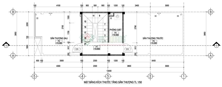Mặt bằng sân thượng nhà phố 3 tầng diện tích 3,95 x 13,4m