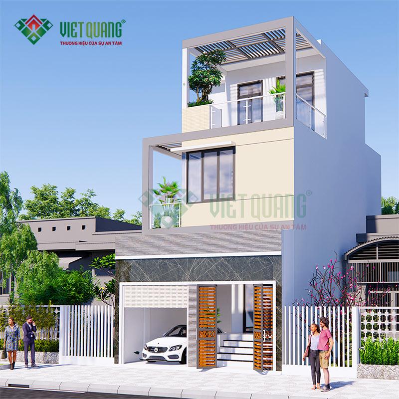 Mặt tiền nhà phố 3 tầng có gara xe hơi diện tích 6,4m x 13,5m