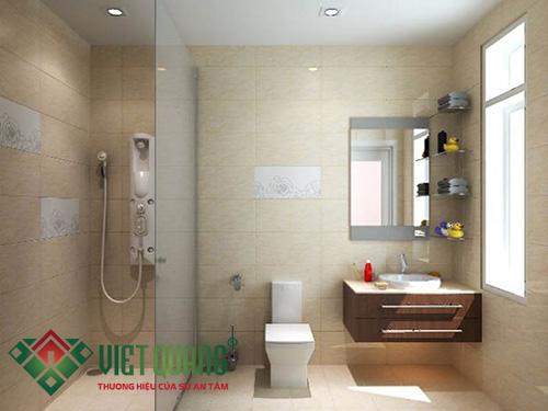 Nhà vệ sinh kết hợp phòng tắm với nội thất hiện đại, sang trọng