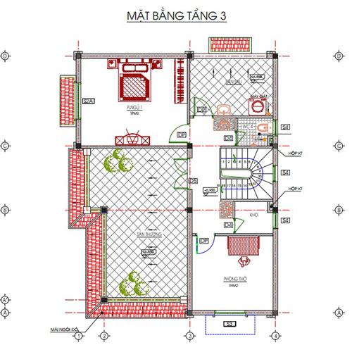 Thiết kế kiến trúc tầng 3 ngôi biệt thứ 3 tầng