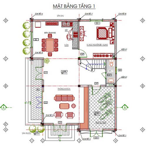 Thiết kế kiến trúc tầng 1 ngôi biệt thứ 3 tầng