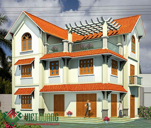 Thiết kế 3D mặt tiền  ngôi biệt thự mái thái