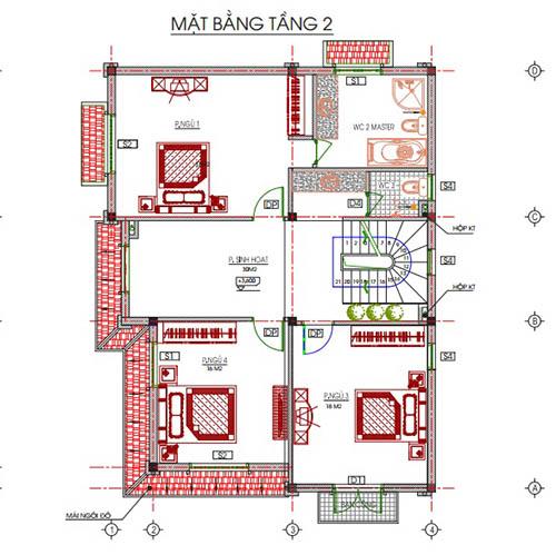 Thiết kế kiến trúc tầng 2 ngôi biệt thứ 3 tầng