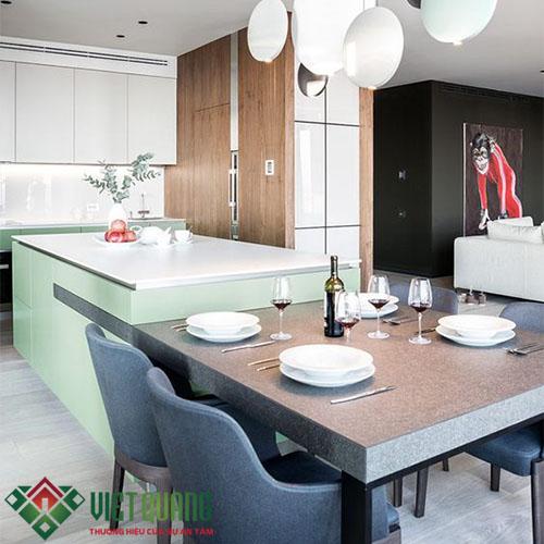 Nội thất phòng bếp được hoàn thiện và đưa vào sử dụng.