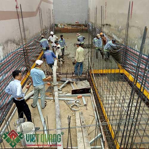 Công đoạn thi công bê tông sàn tầng hầm