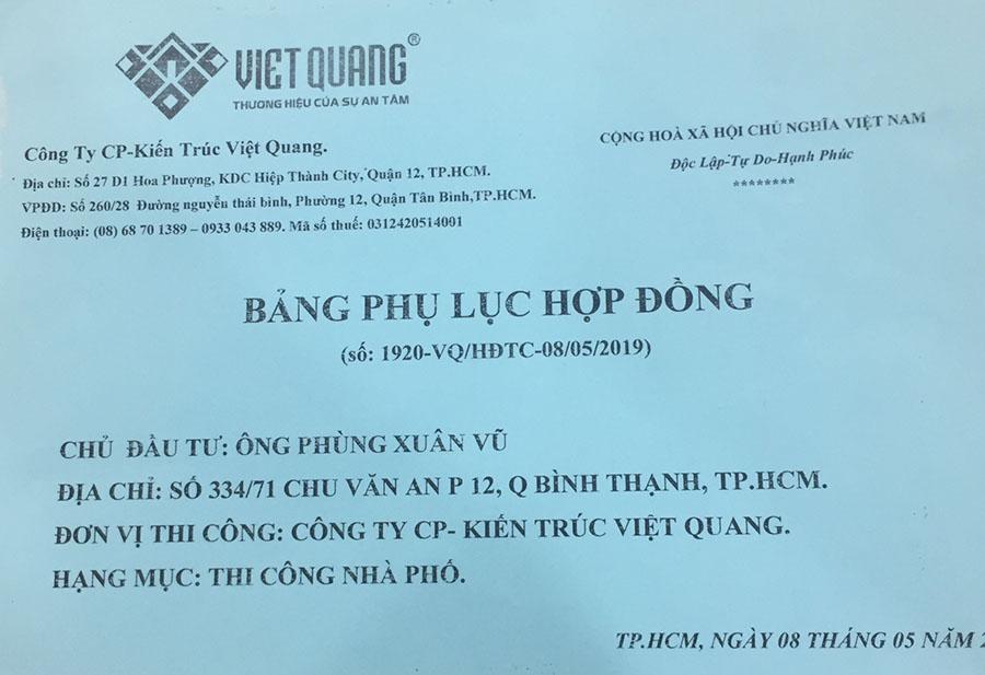 Báo giá phụ lục hop dong sua nha