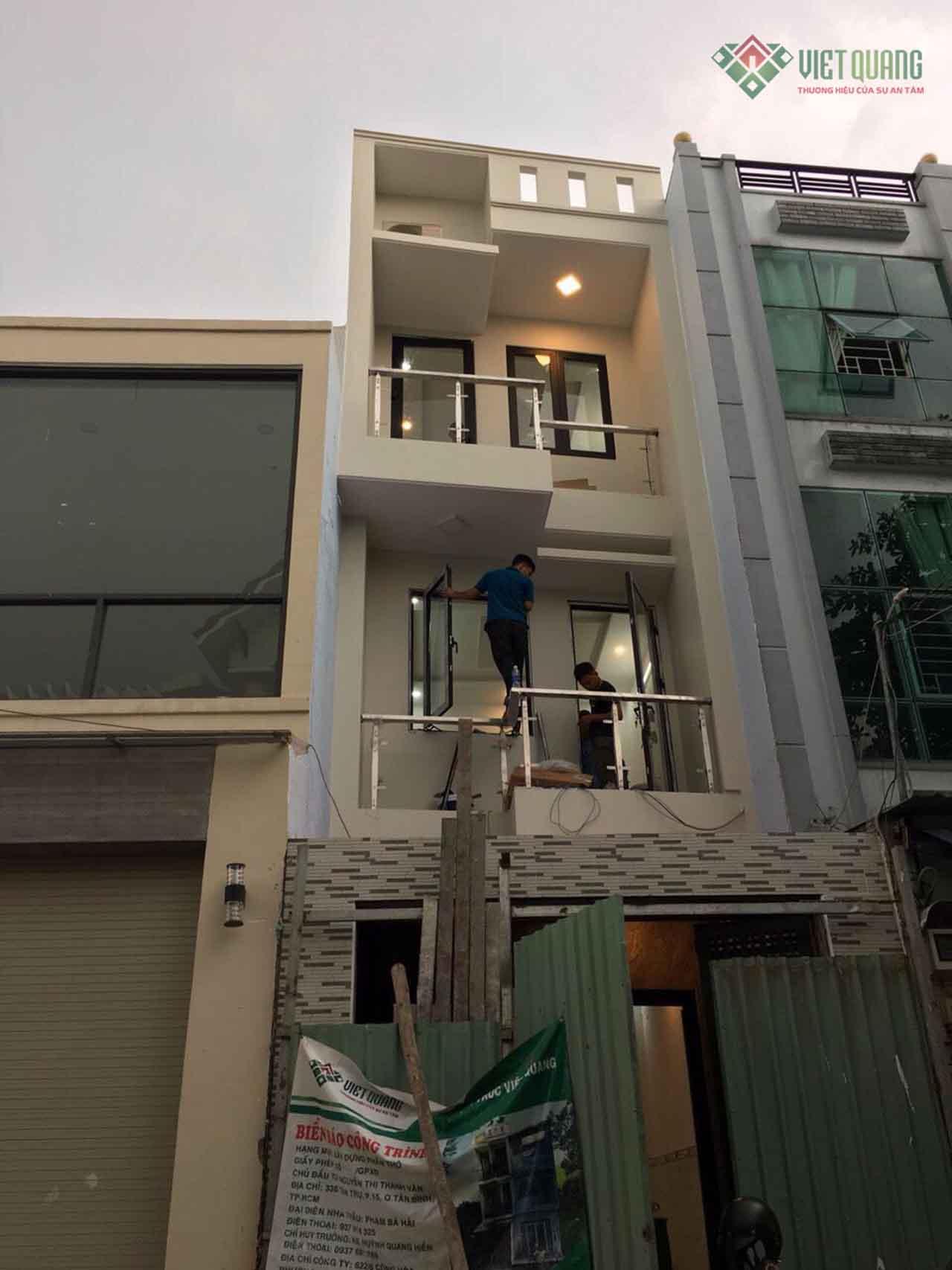 Xây dựng nhà phố 3 tầng diện tích 4x15m của nhà chị Vân quận Bình Tân