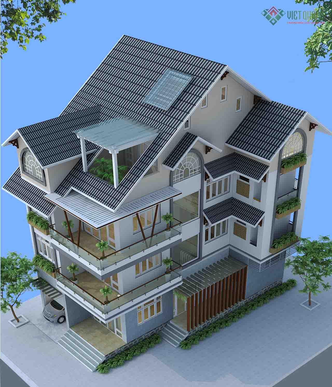 Mẫu thiết kế nhà biệt thư hiện đại 4 tầng, mái thái đẹp