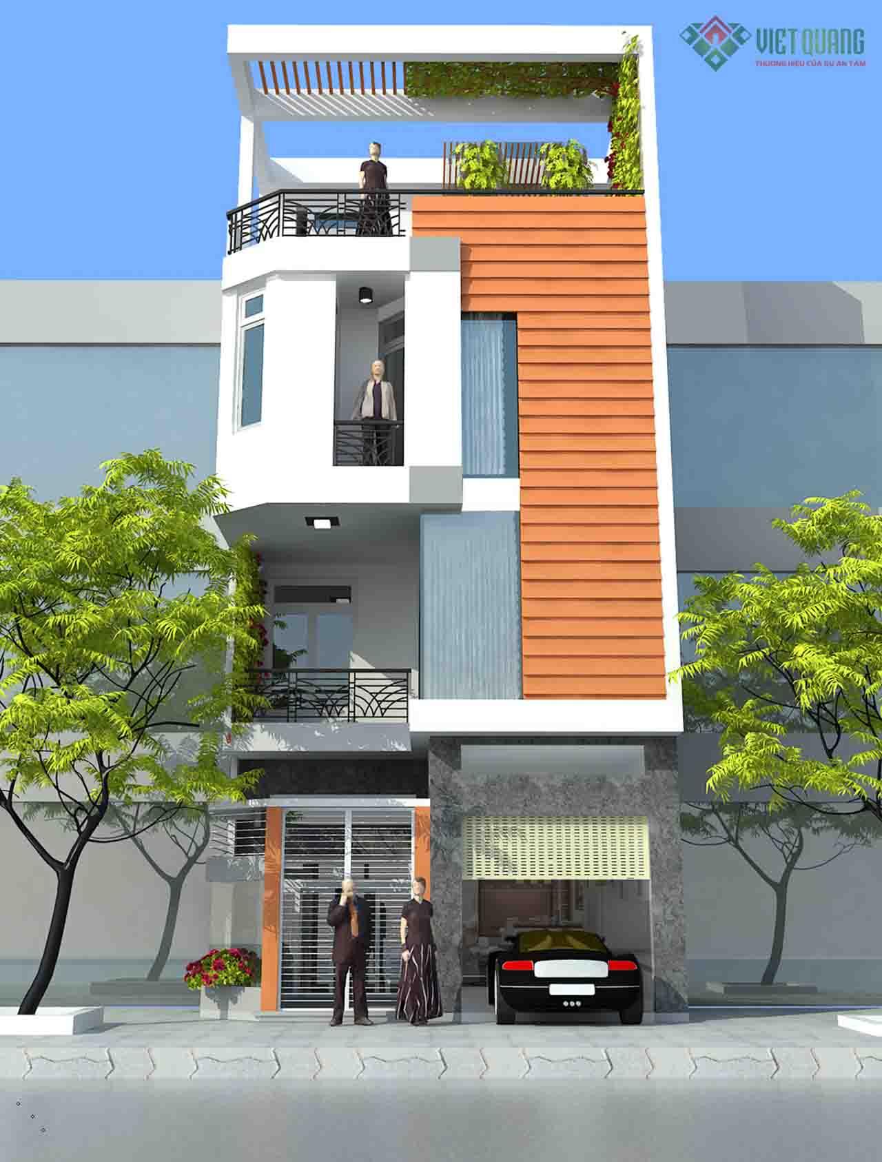 Nhà phố 3 tầng hiện đại thiết kế theo phong cách mái bằng