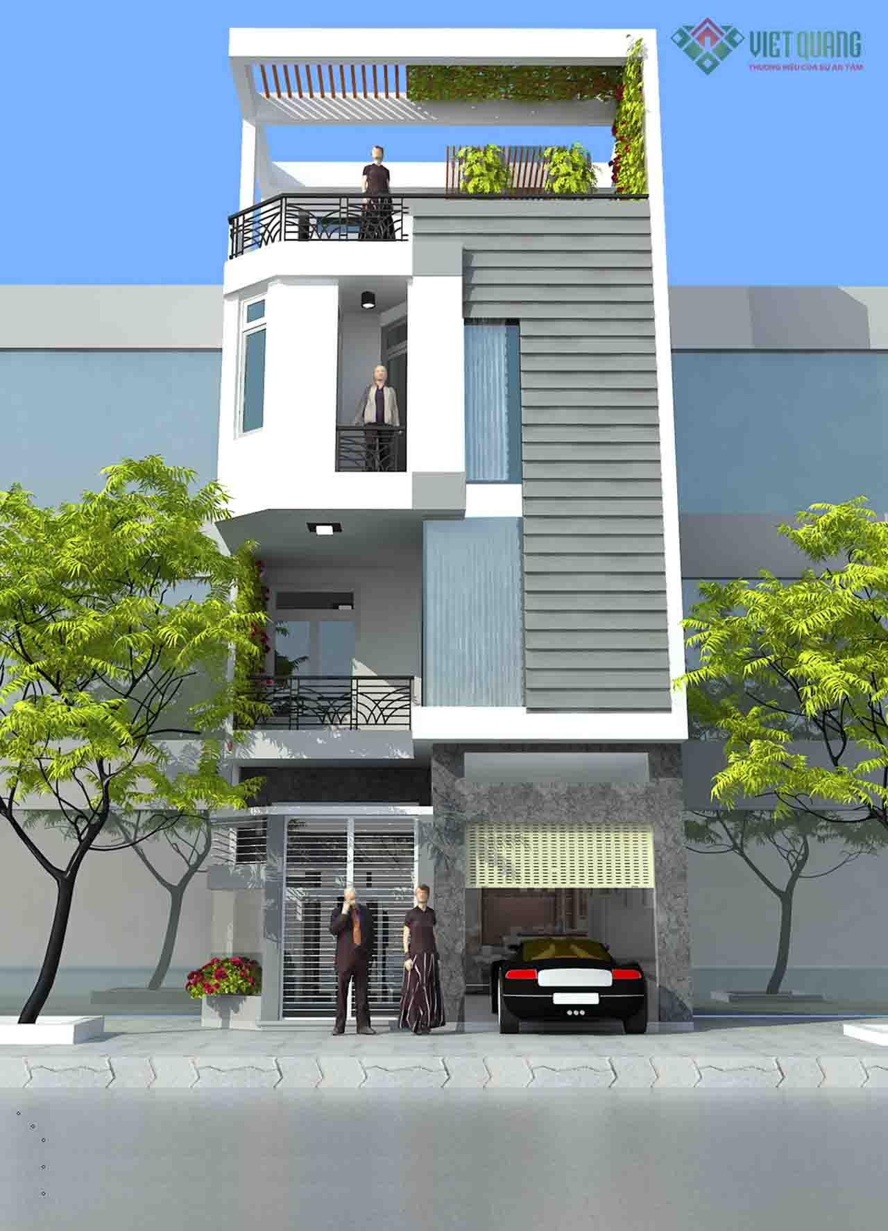 Mẫu thiết kế nhà phố 3 tầng mái bằng cho cảm giác mở rộng diện tích thông qua cách tạo hình khối.