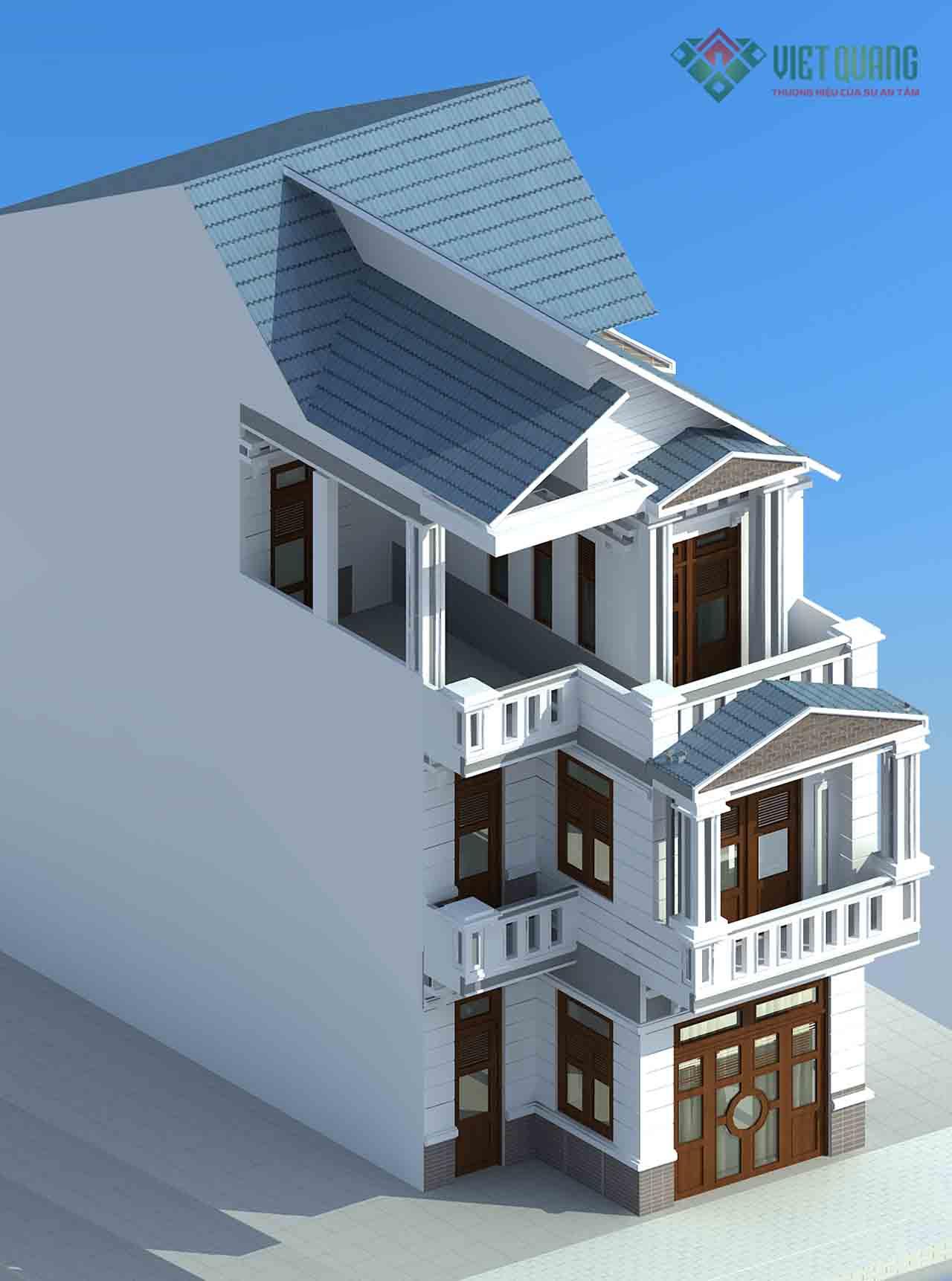 Mẫu nhà phố 3 tầng mái thái vừa bảo đảm thẩm mỹ vừa chống nóng hiệu quả.