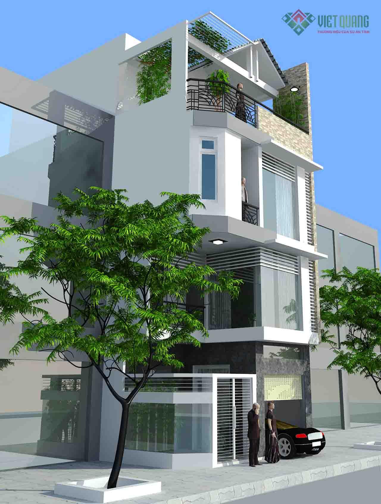 Mẫu Thiết kế nhà phố 3 tầng đẹp hiện đại, hài hòa và gần gũi với thiên nhiên.