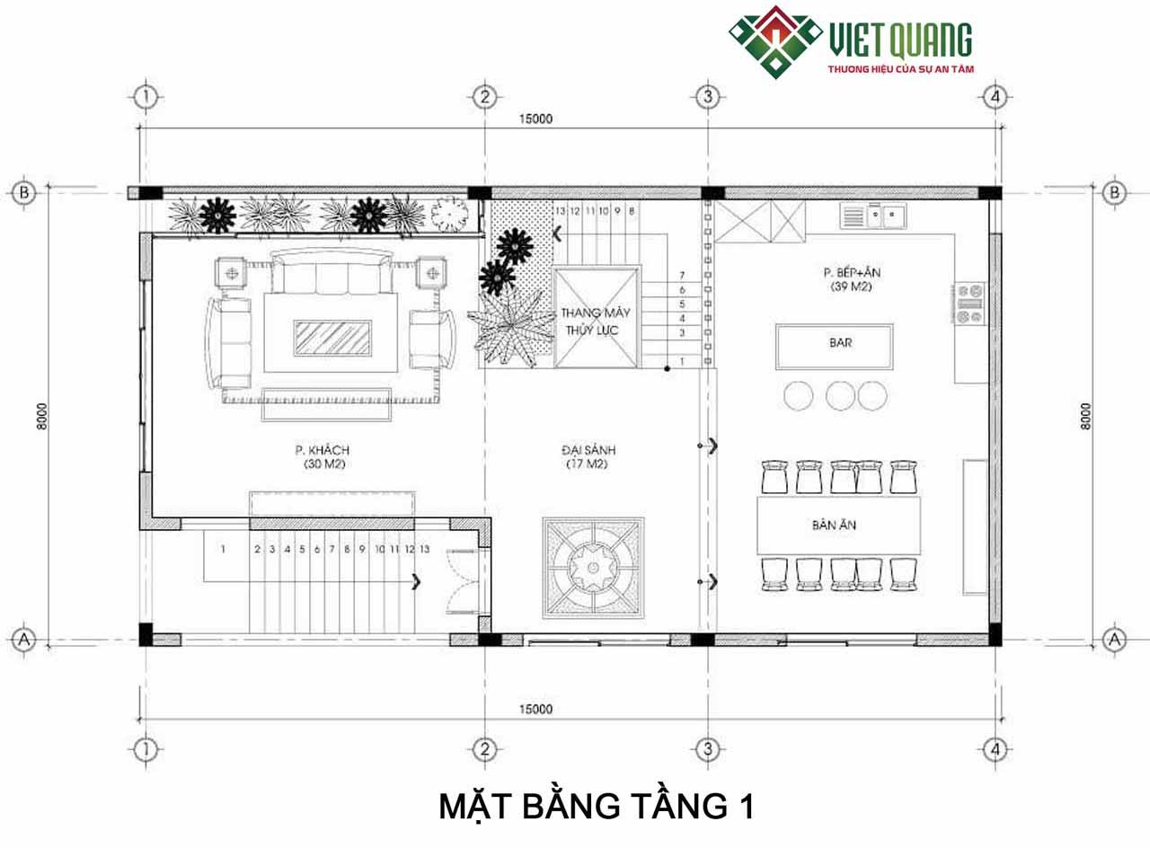 Tang 1- Ban ve thiet ke biet thu 4 tang