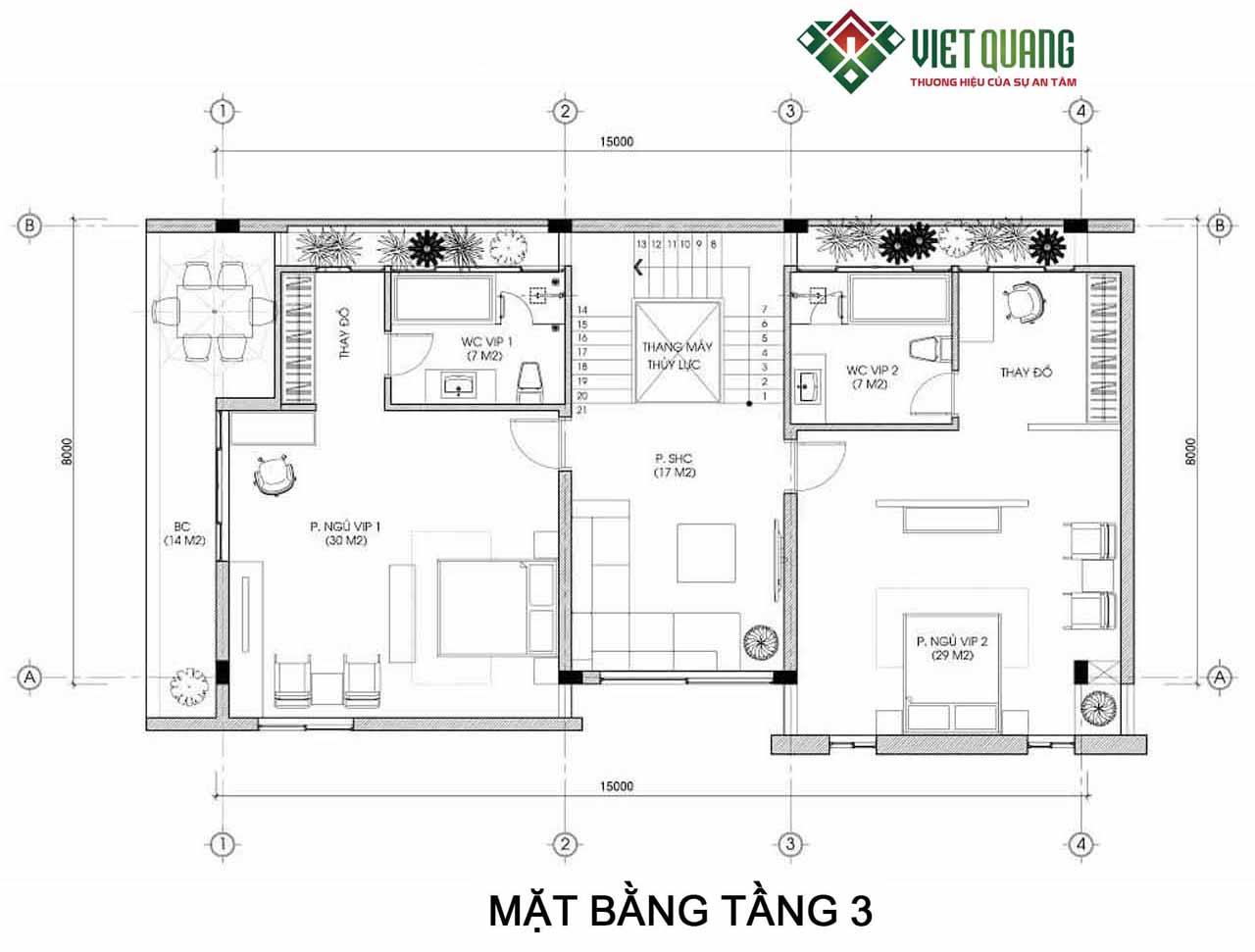 Tang 3- biet thu 4 tang hien dai