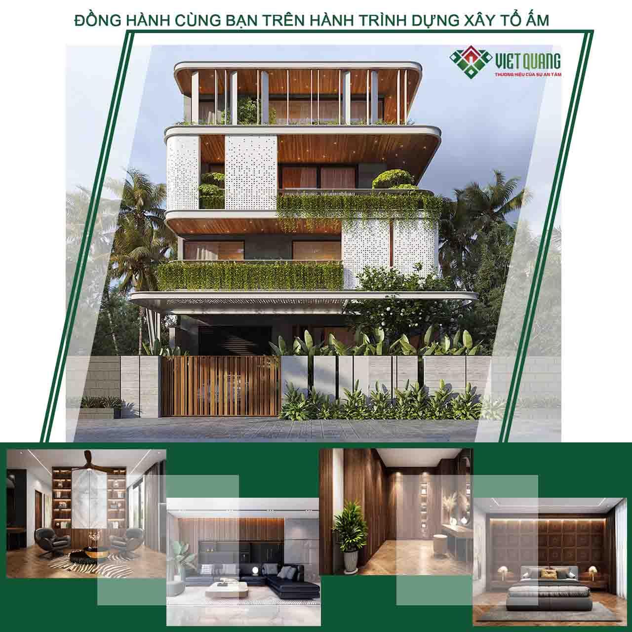 Mẫu thiết kế nhà biệt thự 4 tầng