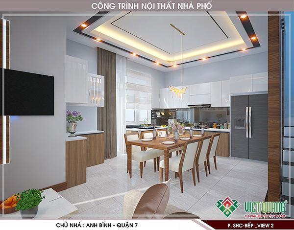 Thiết kế không gian nội thất bếp cho nhà phố