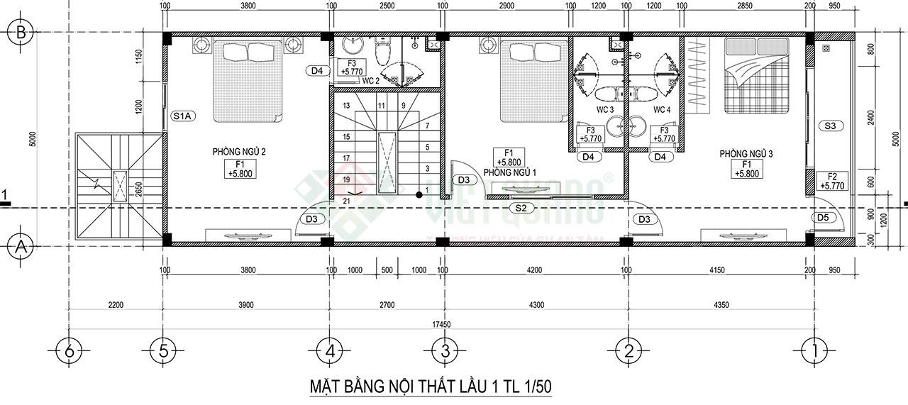 Mặt bằng lầu 1 của mẫu thiết kế nhà phố 4 tầng 1 lửng diện tích 5x17.5m