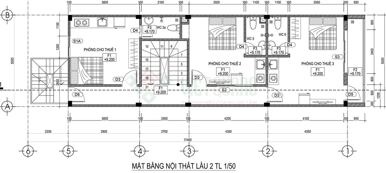 Mặt bằng thiết kế công năng sử dụng lầu 2 và lầu 3