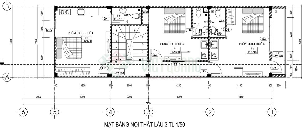 Mặt bằng lầu 3 có 3 phòng căn hộ có thể cho thuê diện tích từ 16-20m2, mỗi phòng đều có nhà vệ sinh riêng
