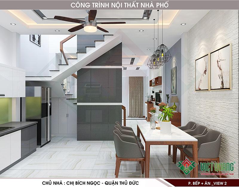Nội thất bếp và bàn ăn nhà phố 3 tầng