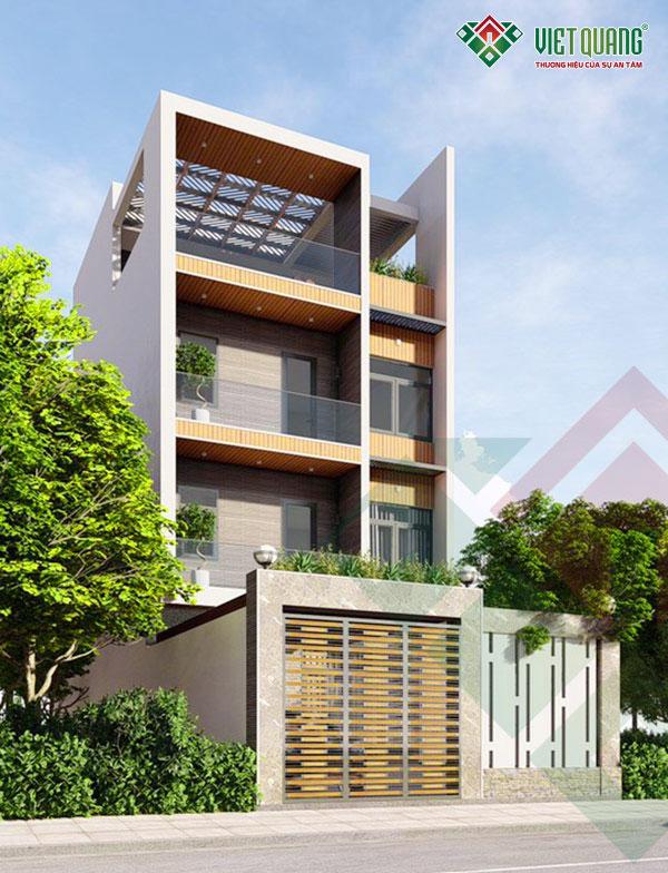 Phối cảnh mặt tiền mẫu thiết kế nhà phố 4 tầng diện tích 6.85x13.6m