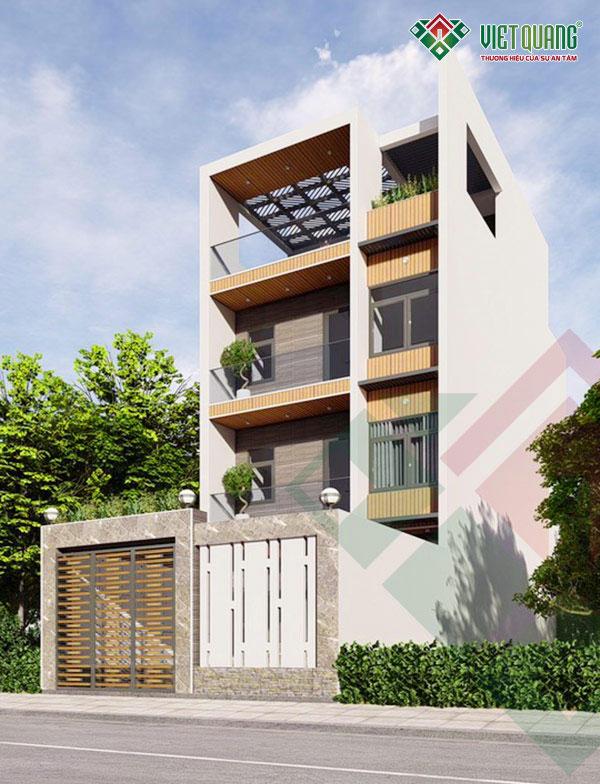 Phối cảnh 3D mặt tiền nhà phố 4 tầng đẹp, hiện đại tại quận Tân Bình, Tp HCM