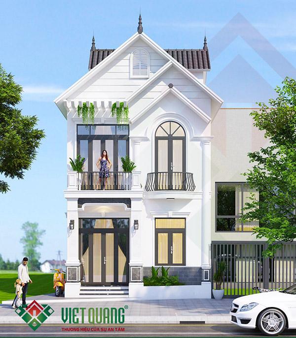 Xây dựng nhà biệt thự phố 3 tầng mái thái chị Phượng huyện Bình Chánh