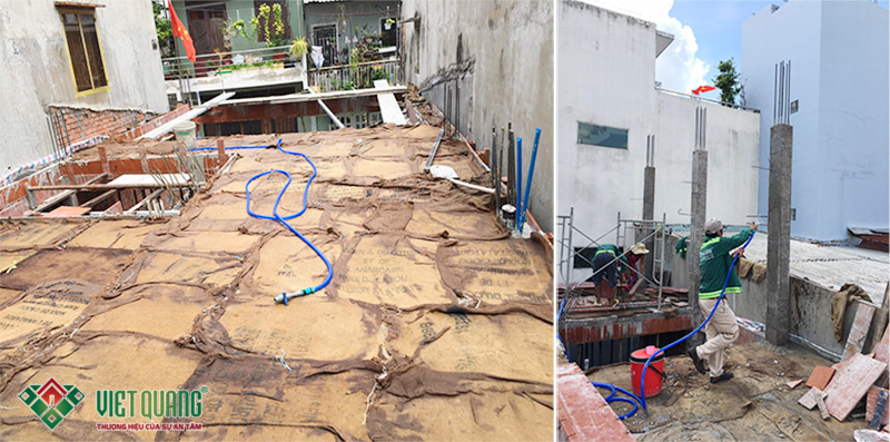 Trong 03 ngày đầu tiên sau khi đổ bê tông, cứ 3 tiếng là tưới nước cho bê tông 1 lần