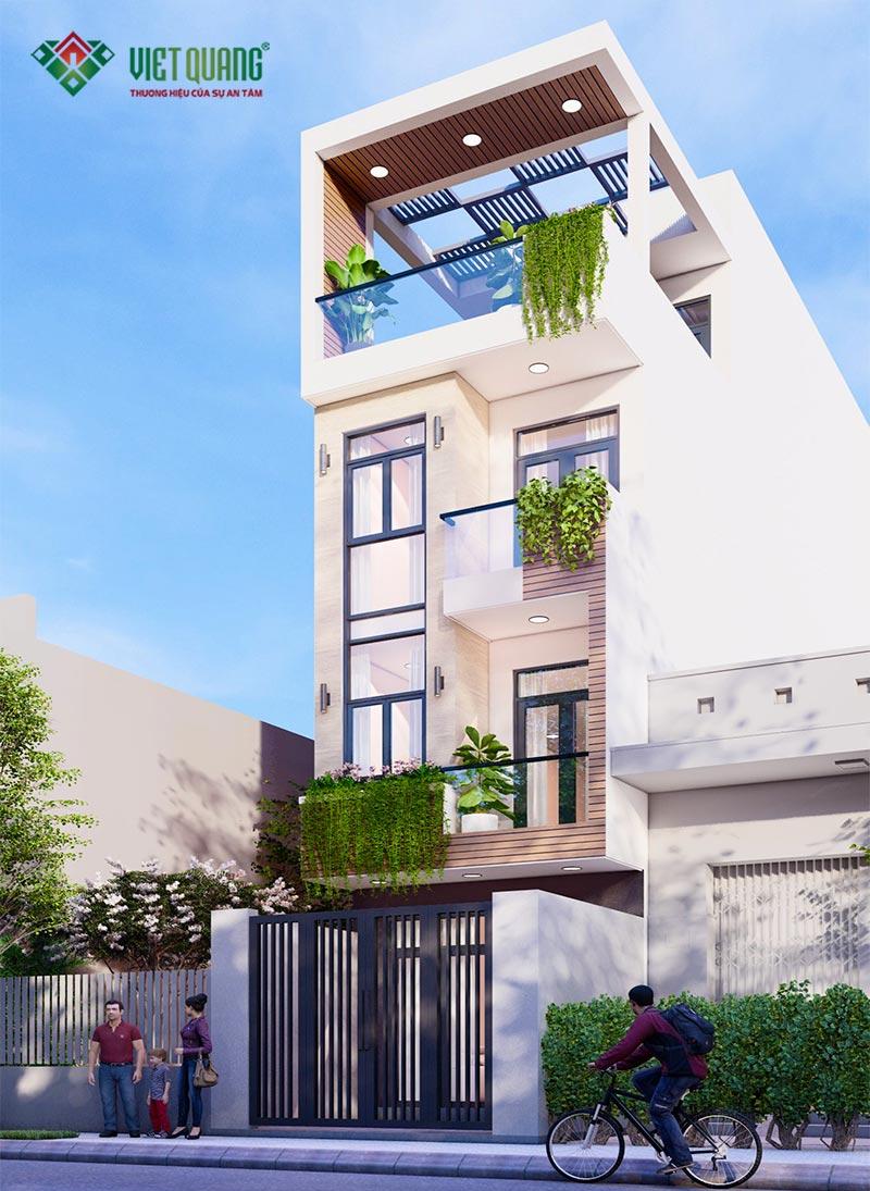 Phối cảnh mặt tiền công trình nhà phố 4 tầng tại quận 4
