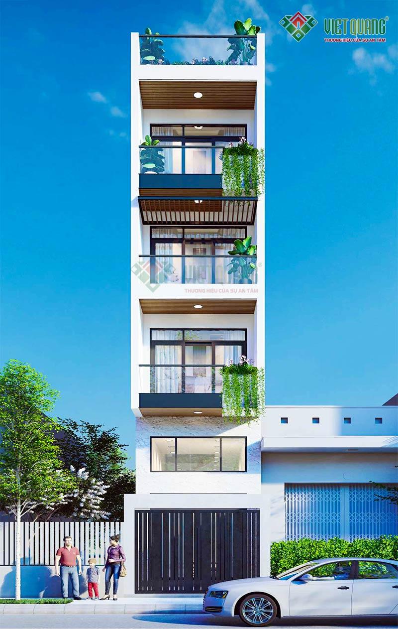 Mẫu thiết kế nhà phố 5 tầng, hiện đại – 04