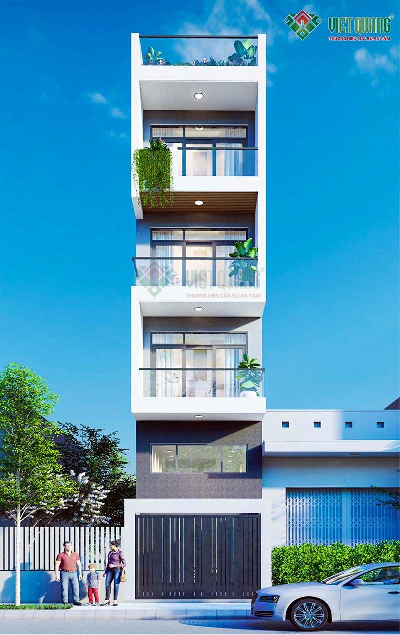 Mẫu thiết kế nhà phố 5 tầng hiện đại – 02