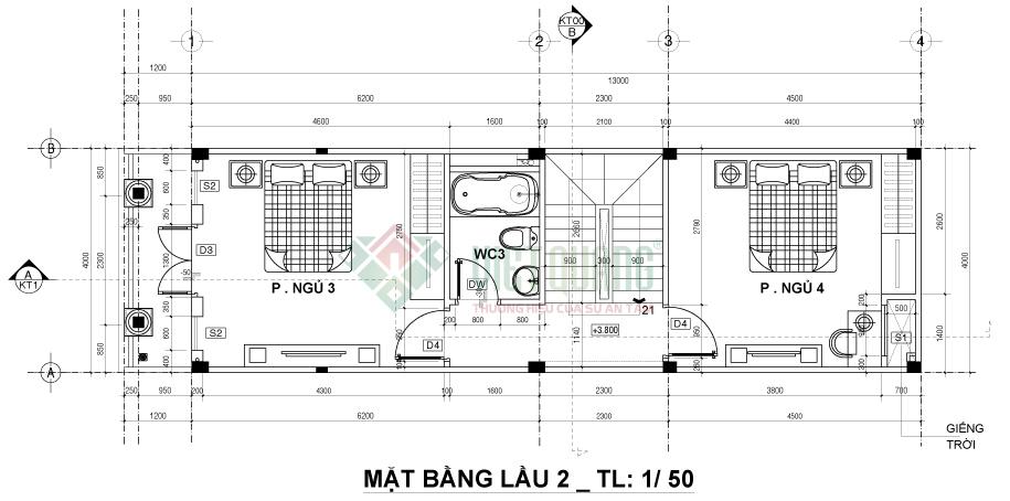 Mẫu thiết kế nhà phố 4 tầng 4x13m