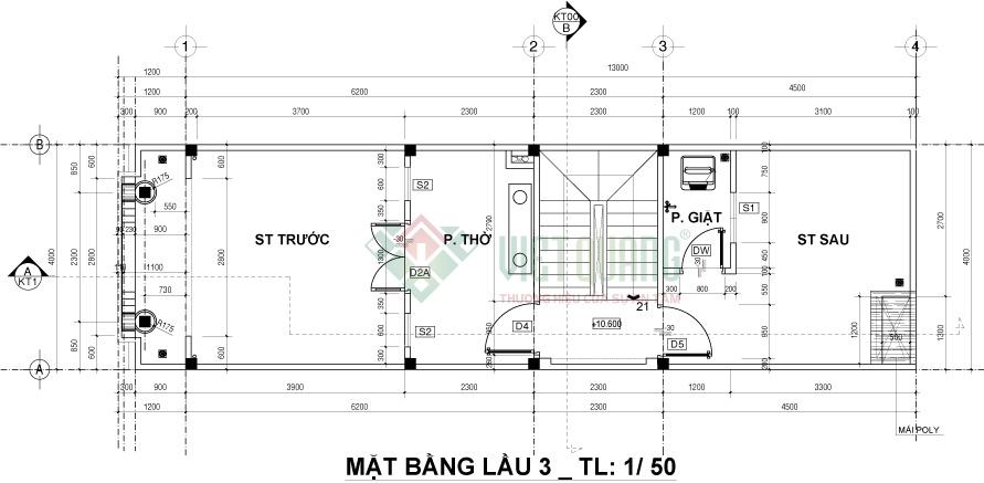 Mặt bằng bố trí công năng sử dụng lầu 3 nhà phố 4 tầng mặt tiền mái thái