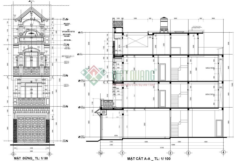 Mặt cắt dọc nhà của mẫu thiết kế nhà phố 4 tầng 4x13m