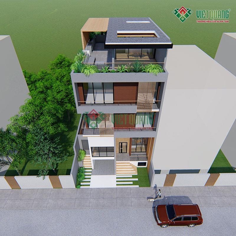 Mẫu thiết kế nhà phố 4 tầng có garage để xe hơi