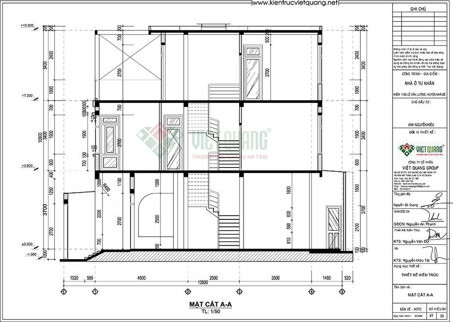 Mặt cắt nhà phố 3 tầng có gara xe hơi diện tích 6,4m x 13,5m