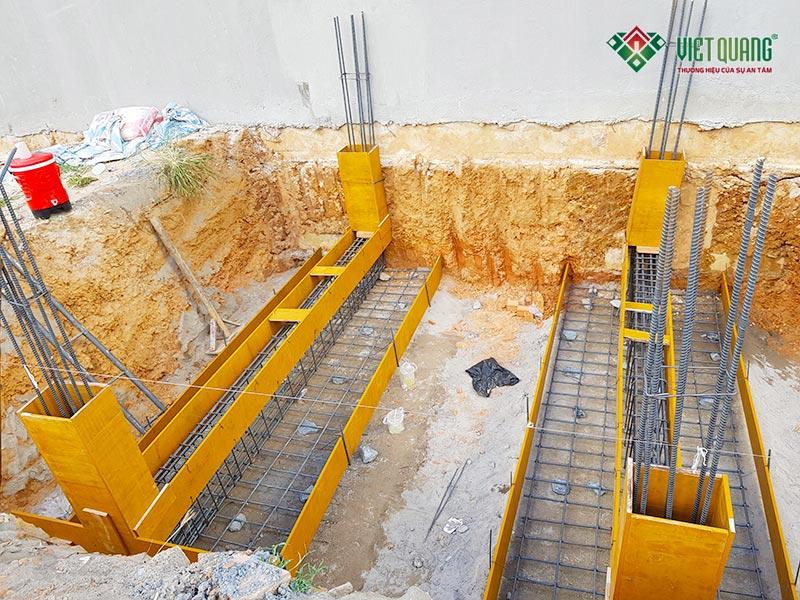 Phương án thi công móng băng cho công trình nhà phố 3 tầng của anh Tuấn Anh