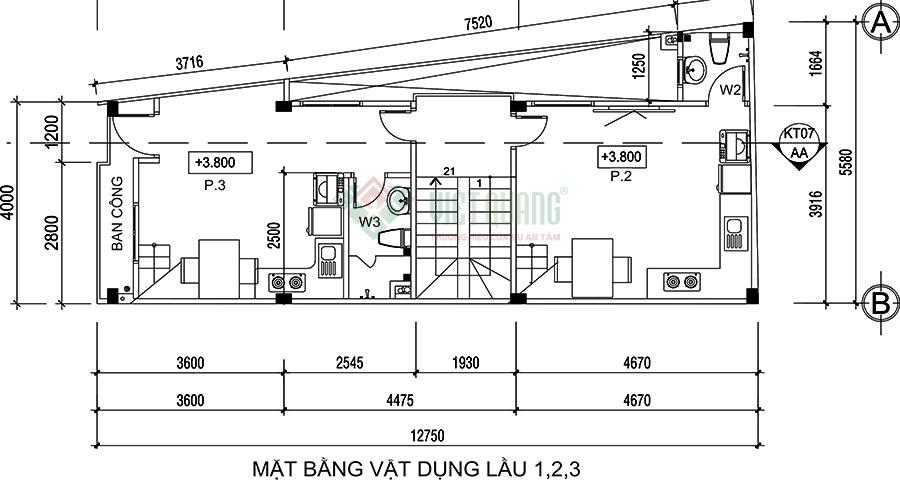 Mặt bằng bố trí công năng sử dụng lầu nhà phố 4 tầng để ở kết hợp cho thuê