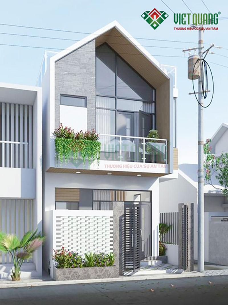 Mẫu thiết kế nhà phố 2 tầng với 2 mặt tiền