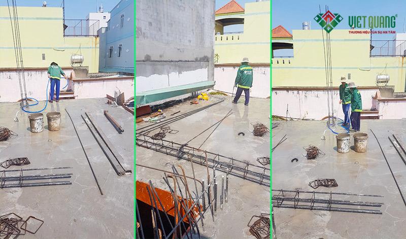 Một số hình ảnh bảo dưỡng bê tông sàn bằng cách tưới nước