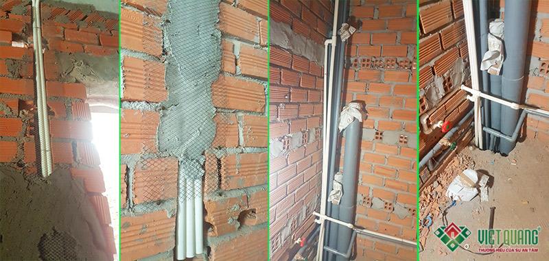 Một số hình ảnh lắp đặt hệ thống điện - nước âm tường của công trình