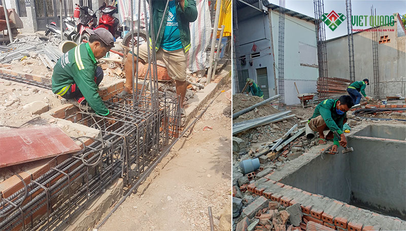 Thi công lắp đặt thép móng cọc công trình xây dựng nhà phố 3 tầng có gác lửng