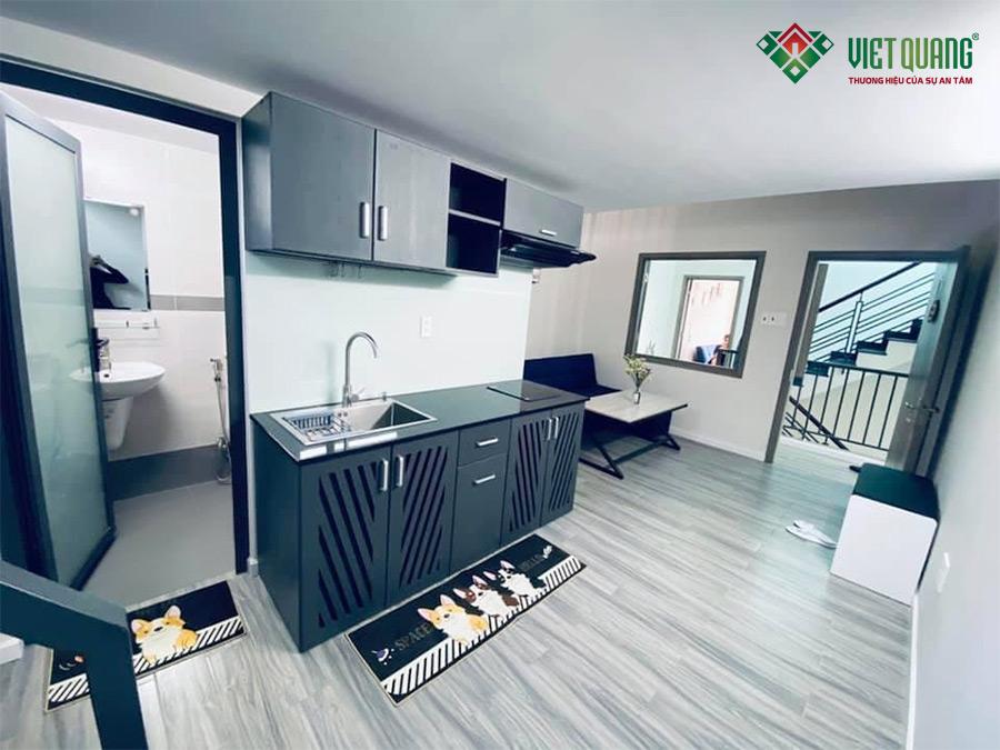 Hình ảnh hoàn thiện của một căn phòng cho thuê với đầy đủ nội thất sang trọng