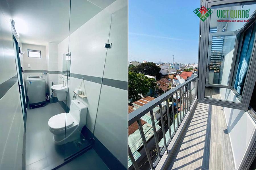 Nộ thất nhà vệ sinh (bên trái) và hình ảnh ban công của mỗi phòng cho thuê