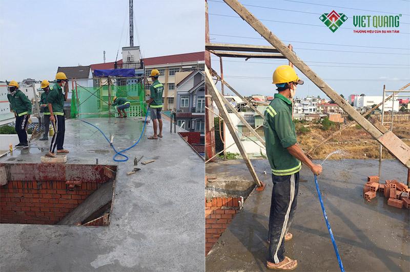 Hình ảnh bảo dưỡng bê tông tại công trình