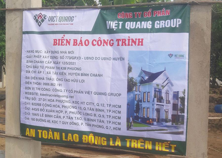 Biển báo công trình của Việt Quang đặt tại công trình