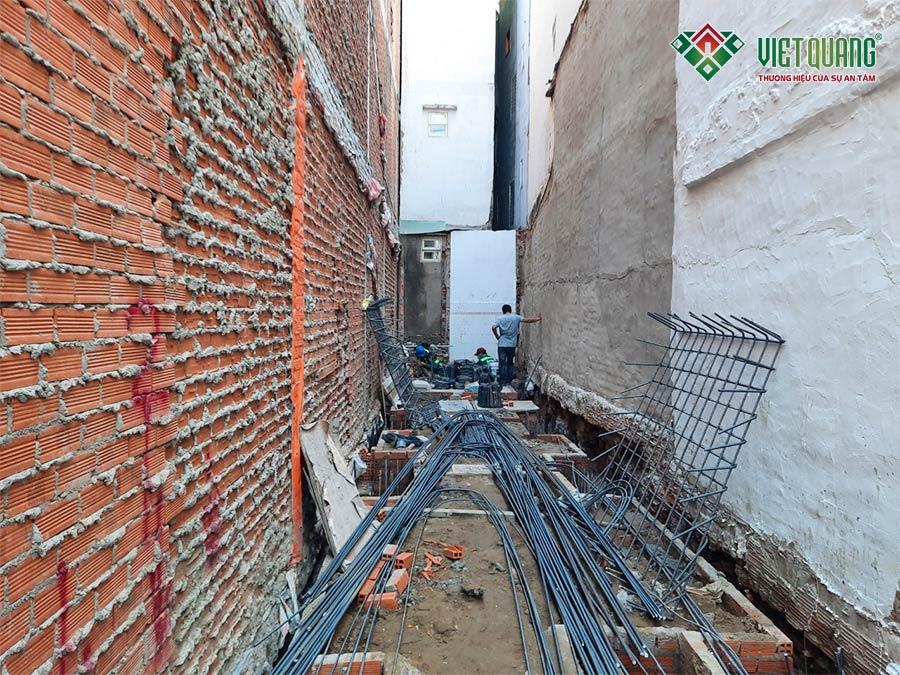 Mặt bằng tổng thể công trình trình nhà phố 5 tầng 3.5x20m đang trong giai đoạn thi công phần móng